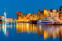 Old Town and Motlawa River in Gdansk, Poland Stock Photos