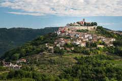 Motovun the little town of truffles and vine in the heart of istria. The old town of Motovun is situated on a hill inside the heart of Istria. It is surrounded royalty free stock photography