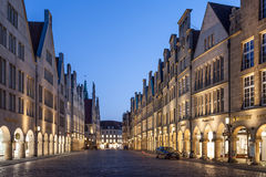 The old town of Munster, Germany. MUNSTER, GERMANY- APR 4: Historic buildings in the old town of Muster. April 4, 2015 in Munster, North Rhine-Westphalia Stock Image