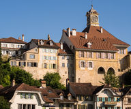 Old Town Murten in Switzerland. The Rathaus (town hall) and other historic buildings in the popular holiday resort of Murten (Morat) in Fribourg canton Stock Image