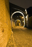 Old town mysterious alley. Night falls over the alleys of Hermanstadt royalty free stock photos