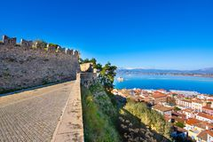 The Bourtzi water castle is a small island with a fortress at the coast of Nafplio in Greece stock image