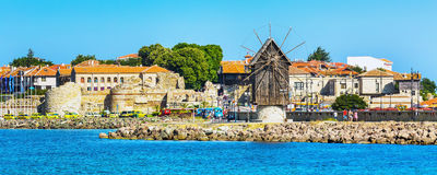 Old Town of Nesebar in Bulgaria by the Black sea. Windmill and old town panorama in Nessebar or Nesebar in Bulgaria, Black sea Stock Image