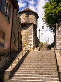 Old Town Neuchatel, Switzerland. Steps leading up to the Collegiale Church in the historic old town of Neuchatel, Switzerland stock image