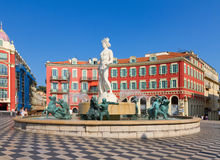 Old town of Nice, France. The Fontaine du Soleil on Place Massena, Nice, French Riviera, France Royalty Free Stock Image