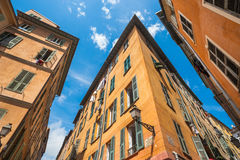 Old town Nice narrow building angles Royalty Free Stock Images