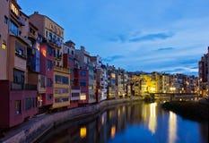 Old town at night, Girona, Spain Stock Photos