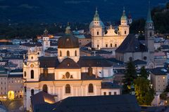 Old town at night. Salzburg. Austria Stock Photos
