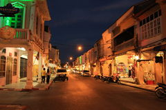 Old town. Night time phuket Thailand Stock Image