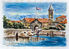 Old town Nin. Watercolor painting Stock Images