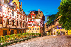 Old Town in Nuremberg, Germany. Scenic summer night view of the Old Town medieval architecture with half-timbered buildings in Nuremberg, Germany Stock Images