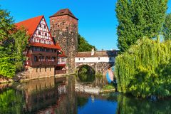 Old Town in Nuremberg, Germany. Scenic summer view of the Old Town architecture in Nuremberg, Germany Royalty Free Stock Photo