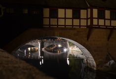 Old Town Nuremberg Night View. Old Bridges over the river 'Pegnitz' by night Royalty Free Stock Images