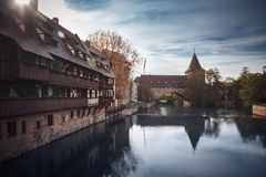 Old town of Nuremberg over Pegnitz, Bavaria, Germany. Royalty Free Stock Photo