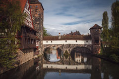 Old town of Nuremberg over Pegnitz, Bavaria, Germany. Stock Photography