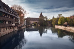 Old town of Nuremberg over Pegnitz, Bavaria, Germany. Royalty Free Stock Image