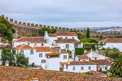 Old town Obidos houses, Portugal stock photos