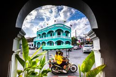 Free Old Town Of Phuket, Blue Building And City Life. Royalty Free Stock Image - 155001136