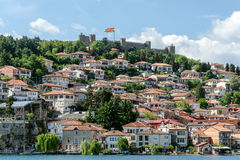 The old town of Ohrid, Macedonia and Samuel fortress. Residential buildings in the old town of Ohrid, Macedonia - popular destination for vacation and leisure Stock Photography
