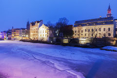 Old town of Opole across Oder River Stock Photo