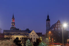 Old town of Opole seen in rain Stock Photo