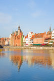 Old town over river Motlawa, Gdansk Stock Images