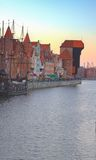 Old town over water, Gdansk. Old town over water of  river Motlawa at twilight, Gdansk ,  Poland. HDR Stock Photography
