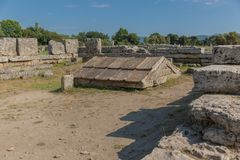 The old town of Paestum. Paestum, Italy, was a major ansient Greek city on the coast of the Tyrrhenian sea in Great Graecia. The Temples of Paestum was built in stock images