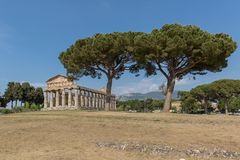 The old town of Paestum. Paestum, Italy, was a major ansient Greek city on the coast of the Tyrrhenian sea in Great Graecia. The Temples of Paestum was built in stock photography