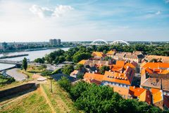 Old town panorama view from Petrovaradin Fortress in Serbia