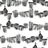 Old town pattern. Landscape of old town. Watercolor painting. Seamless pattern Royalty Free Stock Photography