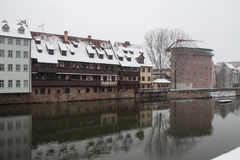 Old town on Pegnitz river canal in winter time. Nuremberg. Bavaria. Germany. Royalty Free Stock Images