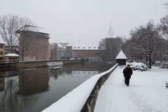 Old Town on Pegnitz river canal in winter time. Nuremberg. Bavaria. Germany. Royalty Free Stock Image