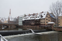 Old Town on Pegnitz river canal in winter time. Nuremberg. Bavaria. Germany. Stock Photos