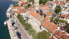 The old town of Perast on the shore of Kotor Bay, Montenegro. Th stock footage