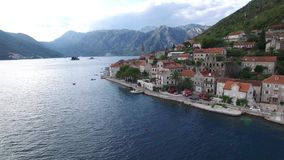 The old town of Perast on the shore of Kotor Bay, Montenegro. Th stock video footage