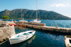 The old town of Perast on the shore of Kotor Bay, Montenegro. Th Stock Images