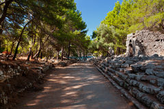 Old town Phaselis in Antalya, Turkey. Archaeology background Royalty Free Stock Image
