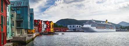 Old Town pier architecture in Bergen, Norway stock photography
