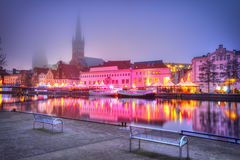 Old Town pier architecture in Lubeck at night Royalty Free Stock Image