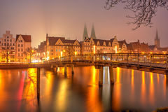 Old Town pier architecture in Lubeck Stock Image
