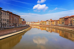 Old town of Pisa, Italy. Old town of Pisa with reflection in Arno river, Italy Stock Images