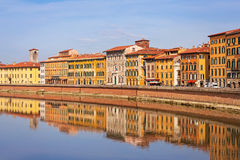 Old town of Pisa, Italy. Old town of Pisa with reflection in Arno river, Italy Royalty Free Stock Photography