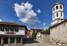 Old town Plovdiv. A view of one of the main streets in old town of Plovdiv, Bulgaria with the dome of St. St. Constantine and Helena church stock image