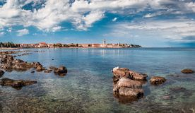 The old town of Porec and the sea. The old town of Porec with its very interesting Cathedral Euphrasia Stock Image