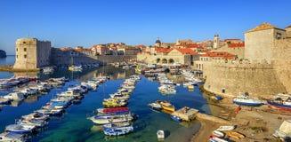 Old town port of Dubrovnik, Croatia stock photo
