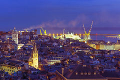 Old town and port of Genoa at night, Italy. Royalty Free Stock Photography