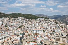 Old town and port in Greek city of Kavala stock photography