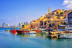 Old town and port of Jaffa, Tel Aviv city, Israel. Old town and port of Jaffa and modern skyline of Tel Aviv city, Israel