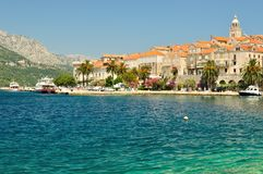 Old town with port of Korcula, Croatia Stock Images
